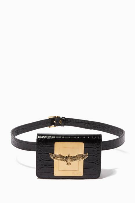 Black Joelle Crocodile-Embossed Belt Bag