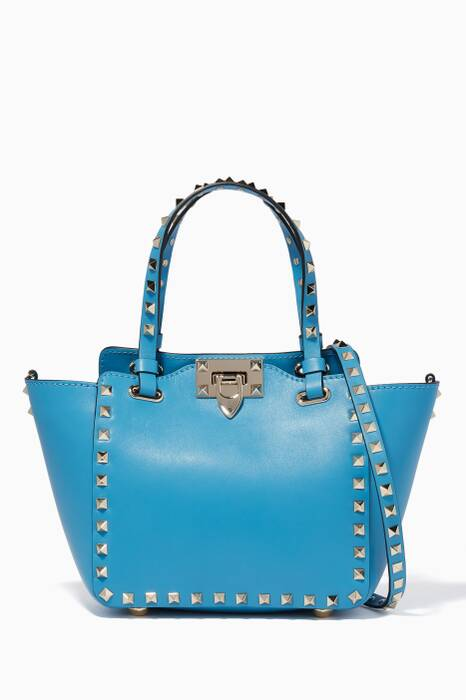 Light-Blue Mini Rockstud Leather Tote Bag