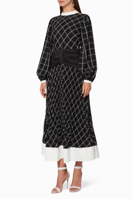 Black Check Panel Midi Dress