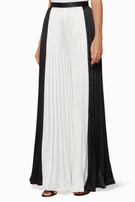 Monochrome Pleated Wide-Leg Trousers