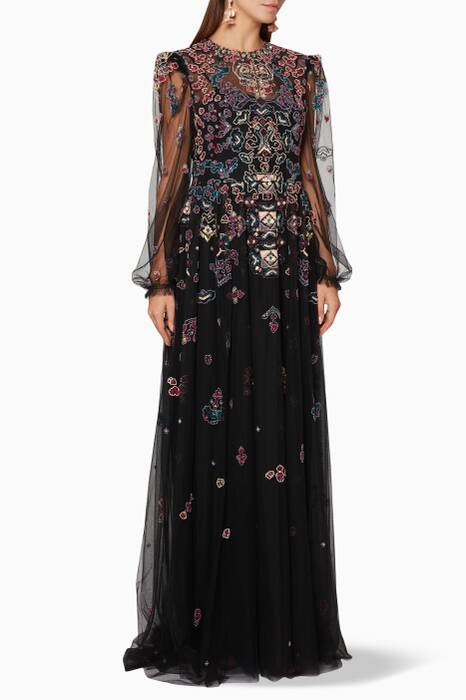 Black Shadow Tapestry Gown