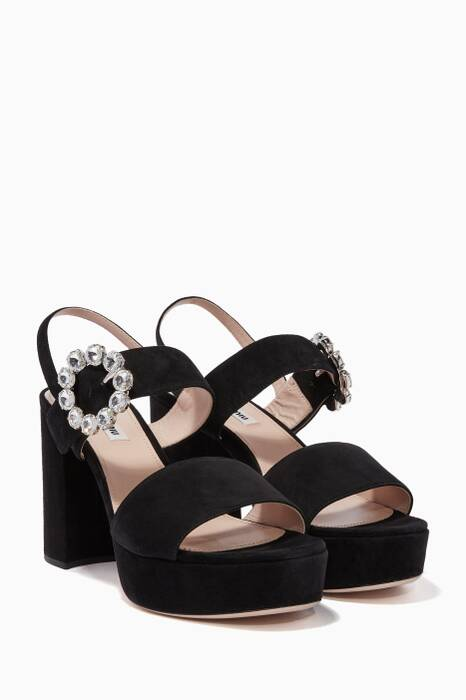 Black Suede Brooch Platform Sandals