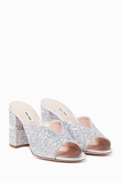 Silver Glitter Chunky-Heel Mules