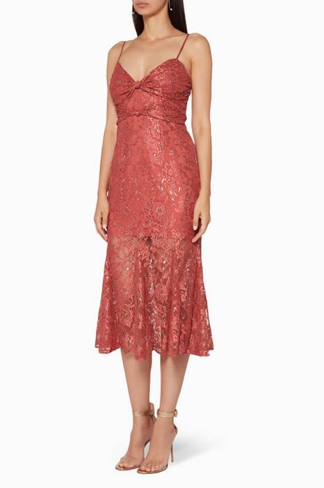 Metallic Brick-Red Etoile Midi Dress