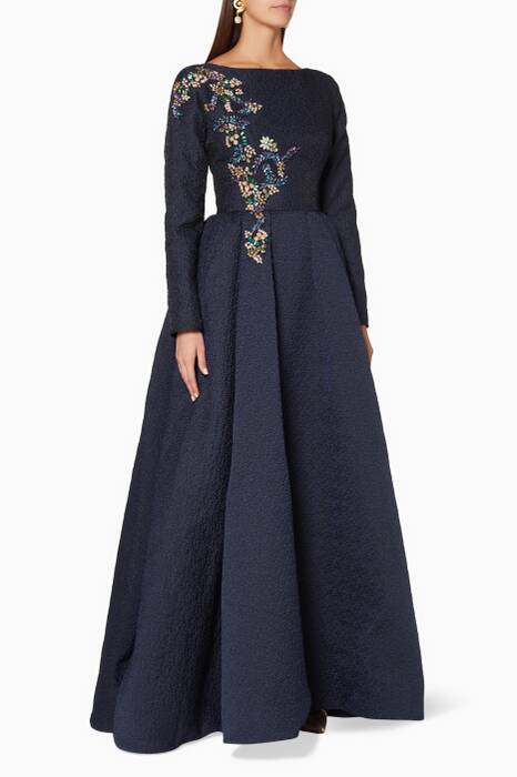 Navy Crystal-Embellished Cloud Gown