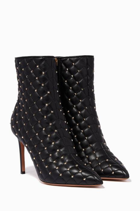Black Quilted Point-Toe Boots