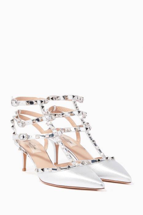 Metallic-Silver Rockstud Pumps