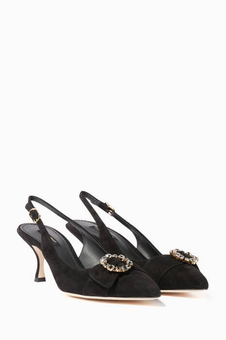 Black Belluci Suede Sling-Back Pumps