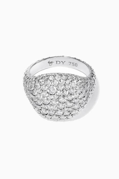 White-Gold & Diamond Pavé Pinky Ring