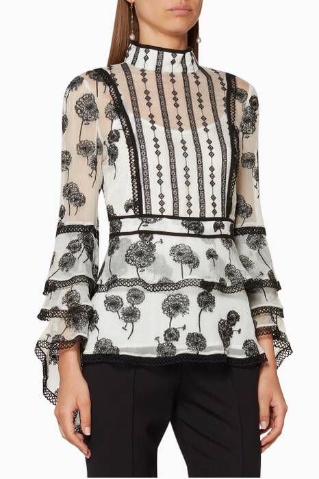 White Printed Vivienne Blouse