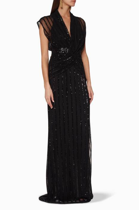 Black Sequin-Embellished Gown