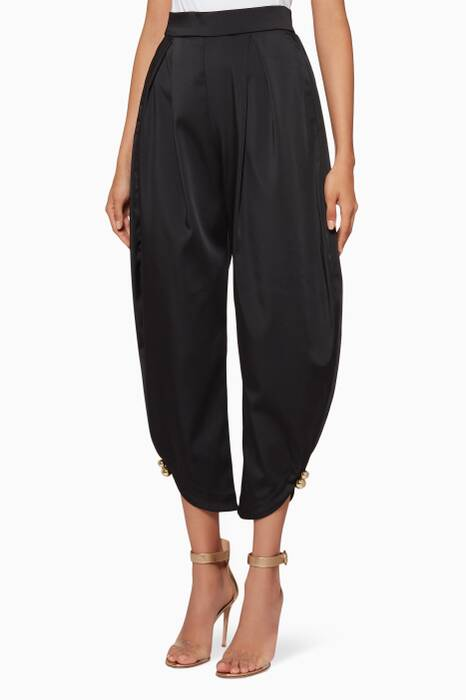 Black Button-Detail Cropped Pants