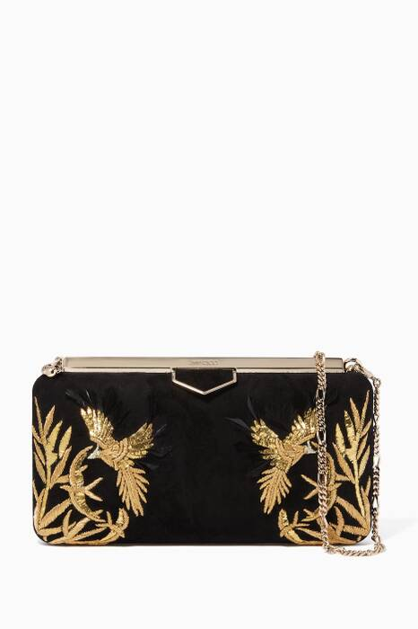 Black Ellipse Suede Embroidered Clutch