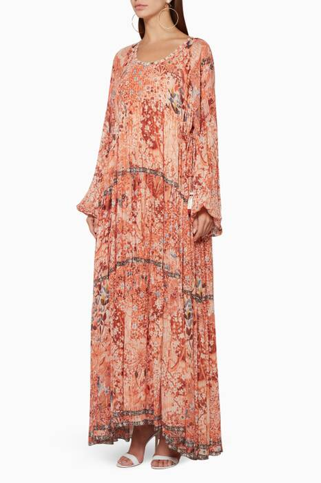 Light-Pink Printed Long Dress