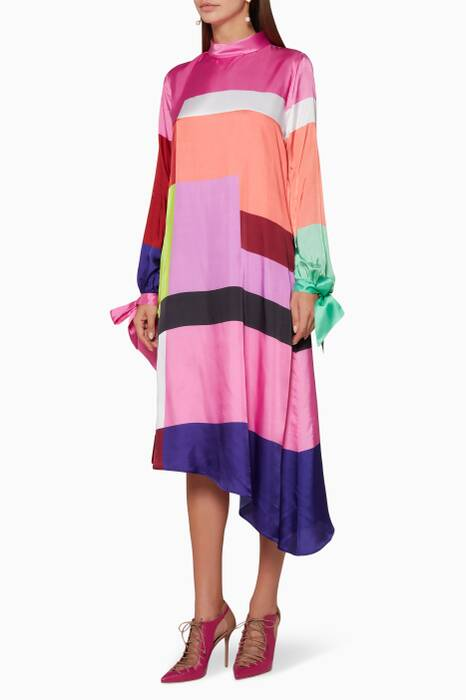 Multi-Coloured Leonora Colour-Block Dress