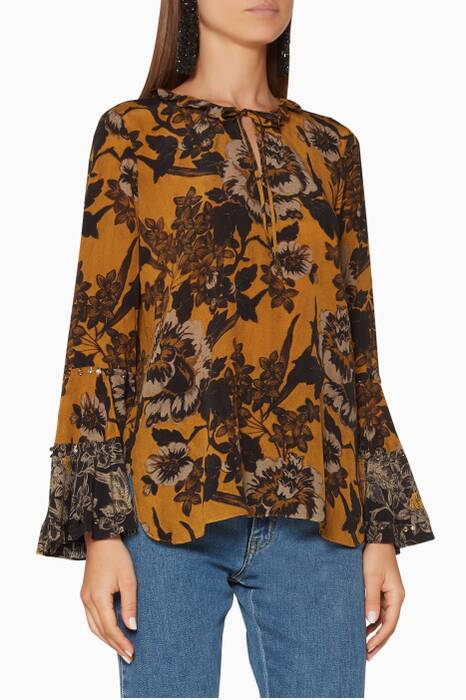 Yellow Floral-Print Adelle Blouse