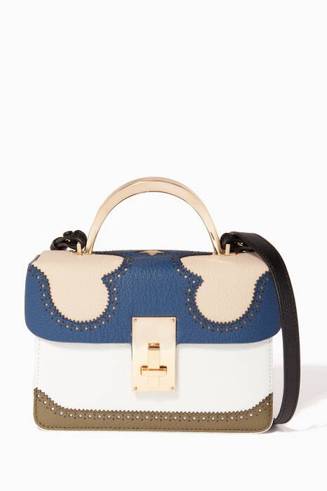 Ivory Colour-Block Data Alice Top Handle Bag