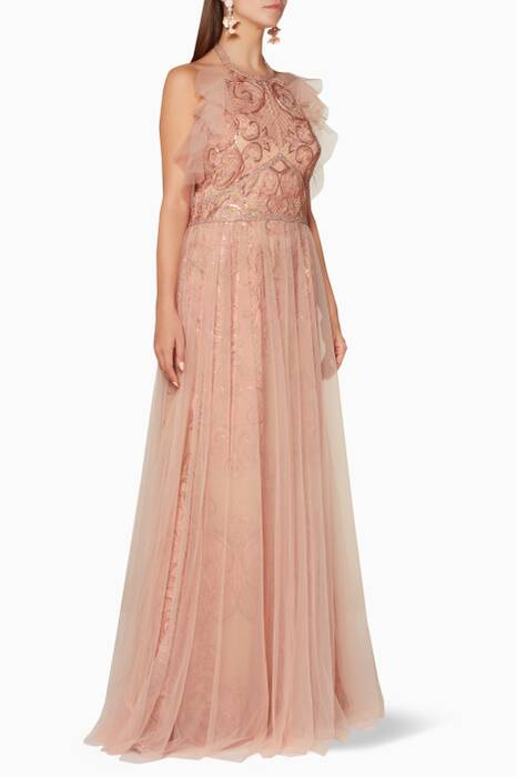 Light-Pink Embroidered Tulle Gown