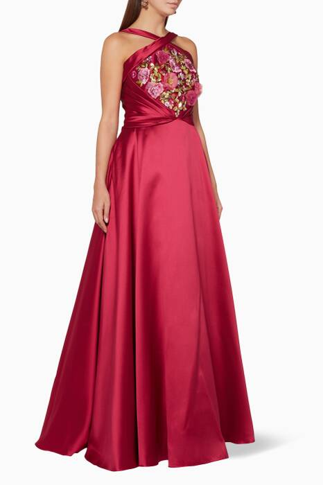 Fuchsia Floral-Embellished Gown