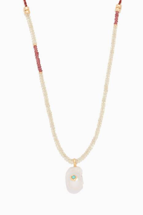 Multi-Coloured Simple Pearl Necklace