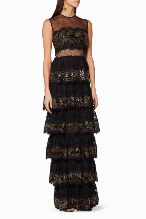 Black Tiered Mesh Sequin Gown