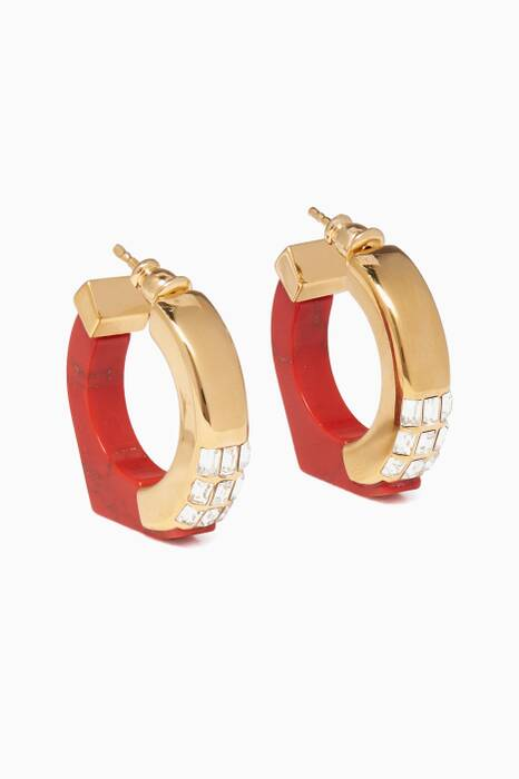 Red Marble Hoop Earrings