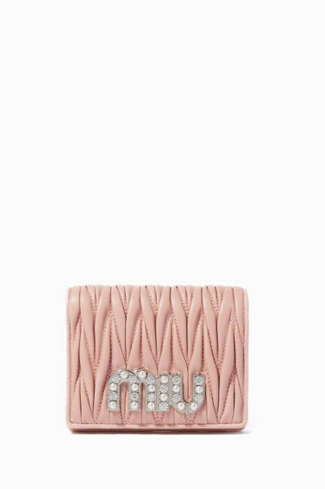 Light-Pink Matelassé Logo Wallet