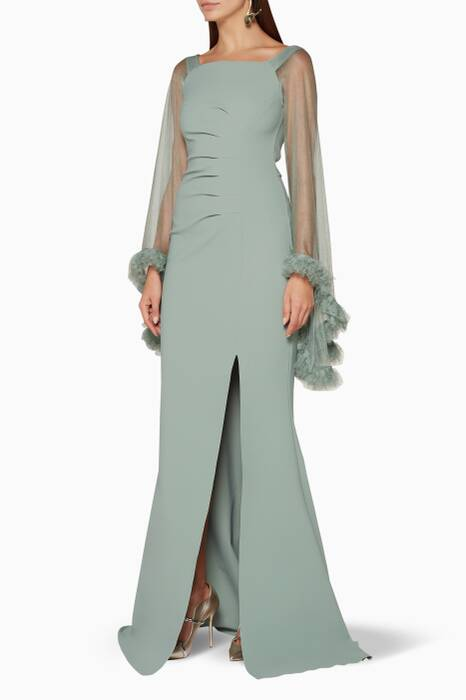 Light-Green Frilled-Sleeve Benika Gown