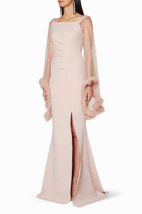 Light-Pink Frilled-Sleeve Benika Gown