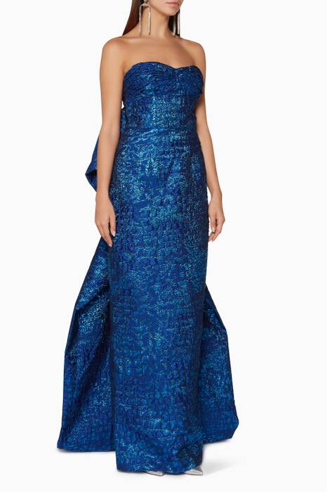Dark-Blue Oversized-Bow Oxford Gown