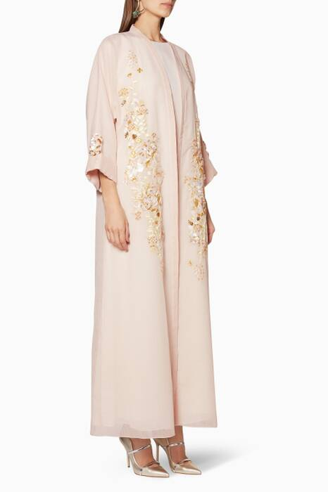 Blush-Pink Floral-Embroidered Abaya