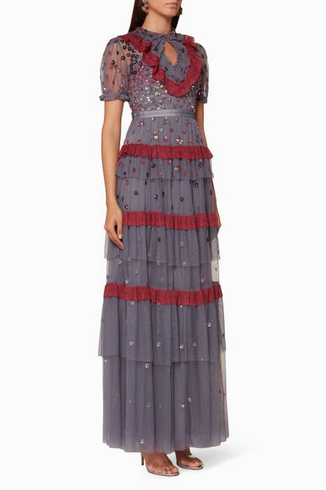 Thistle-Blue Nova Embroidered Gown