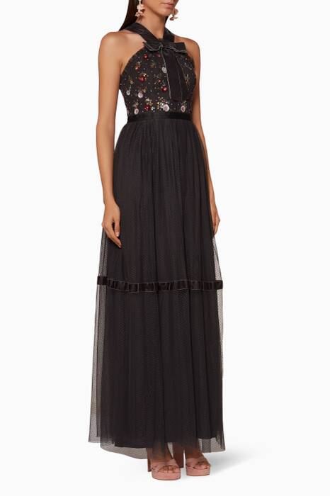 Graphite-Black Halter-Neck Esther Gown
