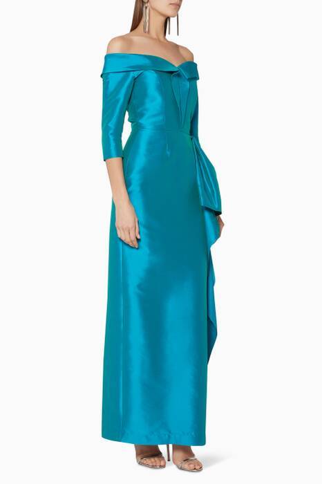 Turquoise Off-The-Shoulder Gown