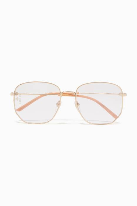 Gold Rectangular-Frame Metal Sunglasses