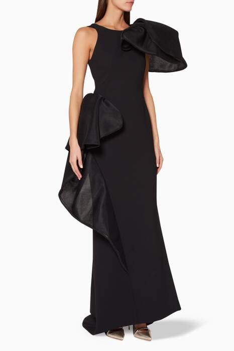 Black Ruffle-Detail Nocturnal Gown