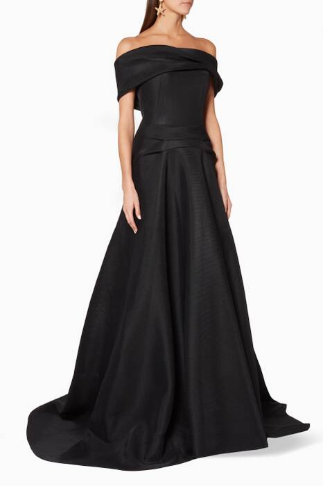 Black Off-The-Shoulder Enchant Gown