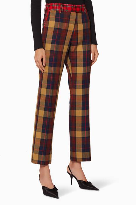 Multi-Coloured Check Tartan Pants