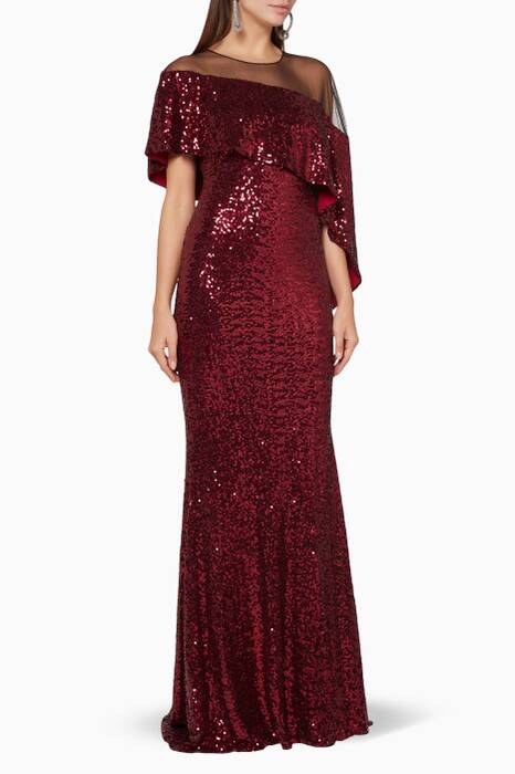 Ruby Sequin-Embellished Mermaid Gown