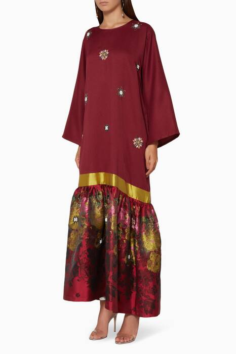 Burgundy Embroidered Frill Maxi Dress