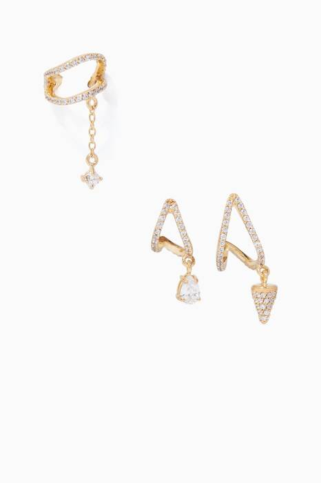 Gold Criss-Cross Earrings, Set Of Three