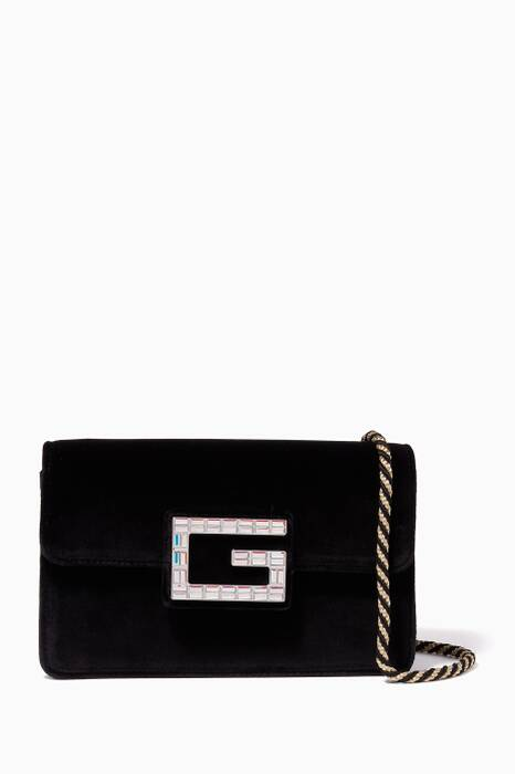 Black Velvet Square G Shoulder Bag