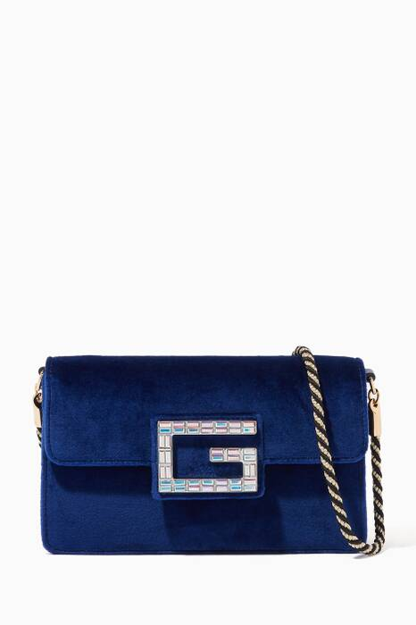 Blue Velvet Square G Shoulder Bag
