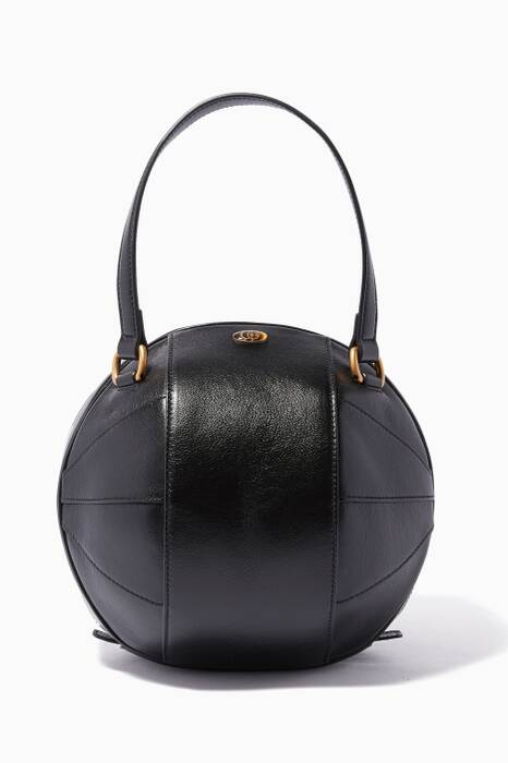 Black Basketball-Shaped Leather Tote Bag