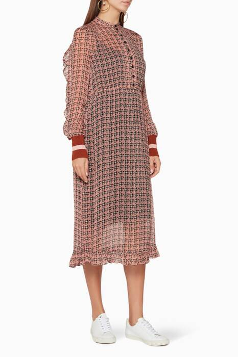 Light-Pink Printed Abbia Midi Dress