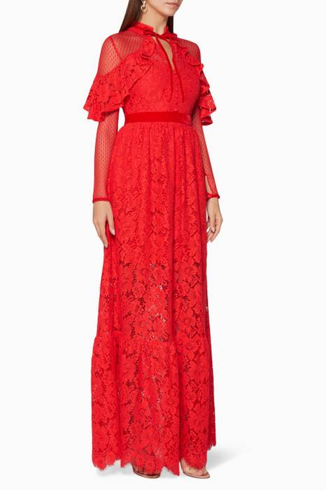 Red Anemone Corded Lace Ruffle Gown