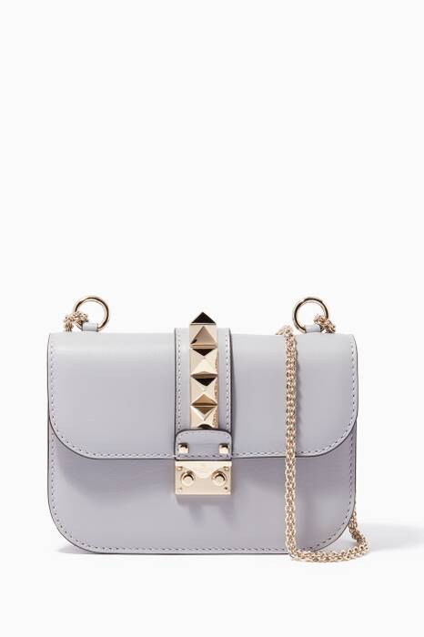 Pastel-Grey Small Glam Lock Cross-Body Bag