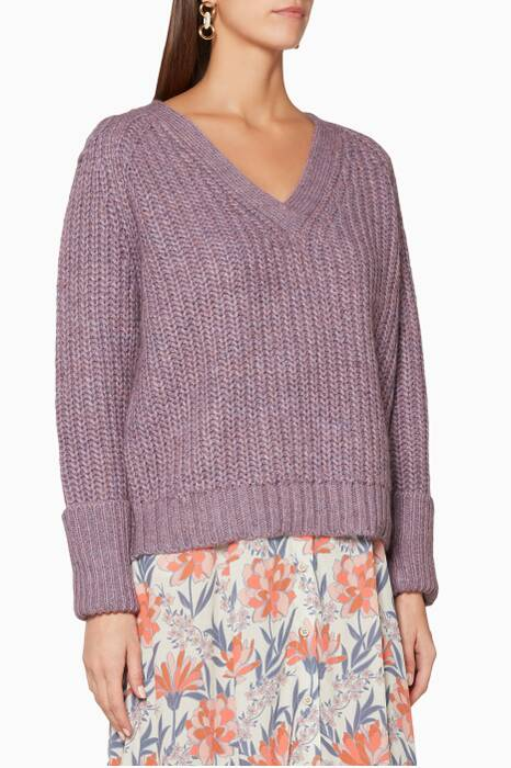 Lilac Rib-Knit Chunky Sweater