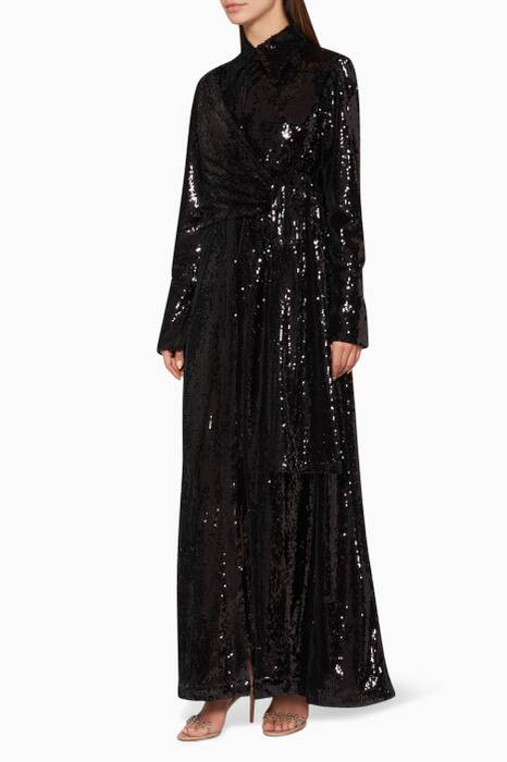 Black Sequin Knot Gown