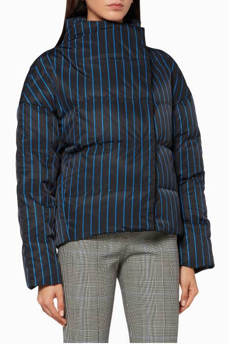 Black Striped Offset Quilted Jacket